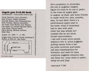 Cindy Bernard, postcard for angels gate dusk, 1998