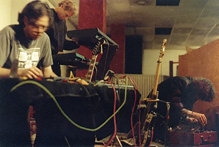 Solid Eye performs at the first sound. concert at Sacred Grounds in San Pedro, January 1999 (photo by Cindy Bernard)