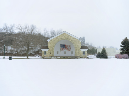 Cindy Bernard, Lake Park Bandshell aka Veterans Park Bandshell (Edwin and Mary Jaehnig, 1934; American Flag, 1985) Port Washington, Wisconsin, 2004