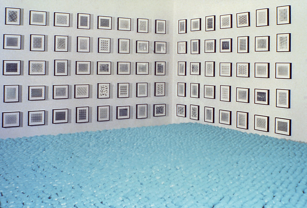Cindy Bernard, Installation view, Security Envelope Grid (1-75), Whitney Biennial, 1989
