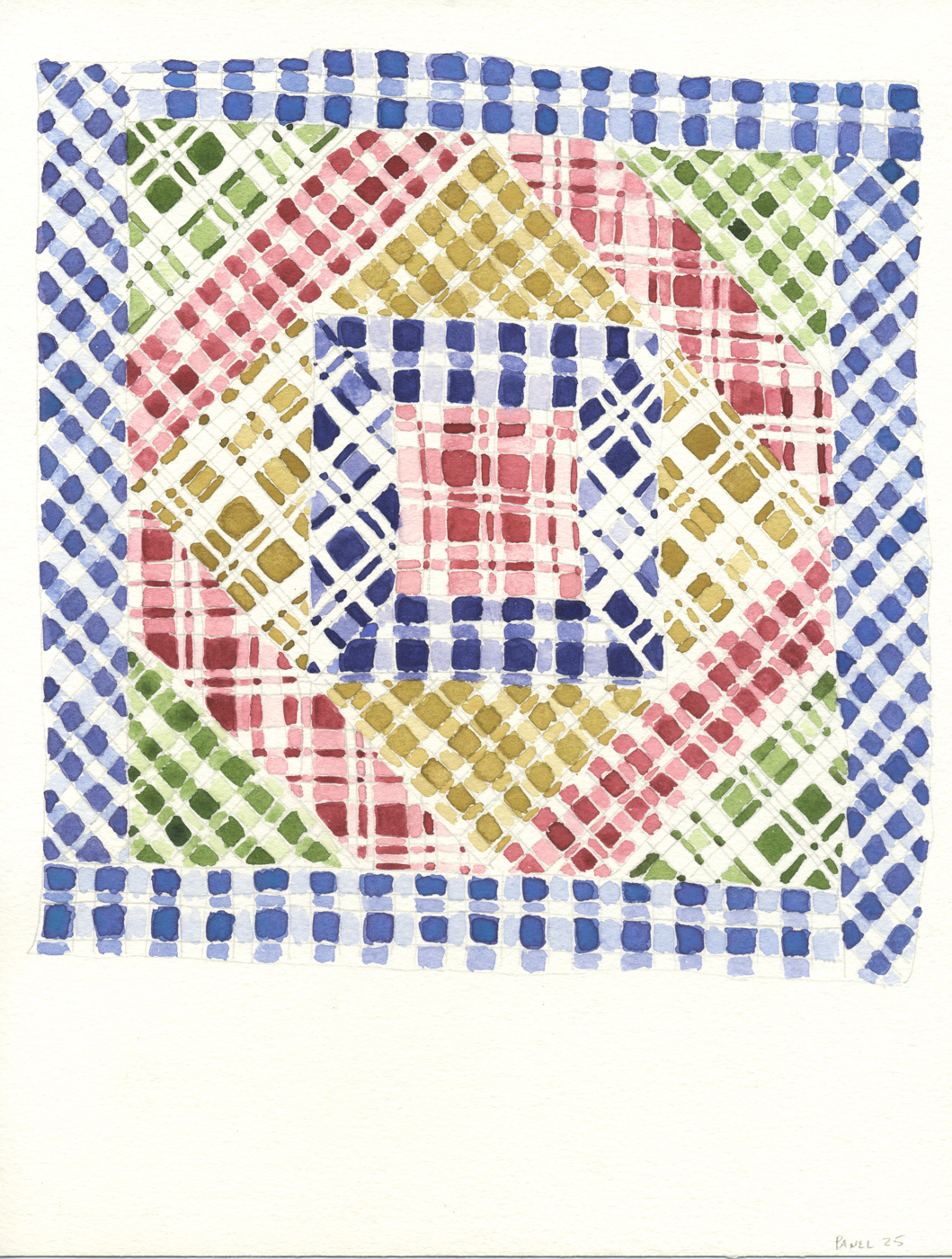 Cindy Bernard, Quilt (Gladys Osmond, Beaches, Newfoundland, 2013) from the Vinland series, Panel 25 of 123 panels, 2016, Watercolor, 11 x 8.5 inches